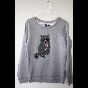 American Eagle Embroidery X-mas Raccoon Sweater